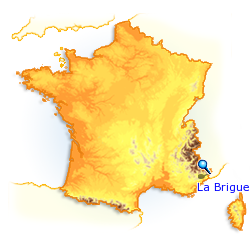 La Brigue sur une carte de france